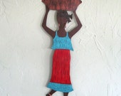 Metal Wall Art Market Lady Sculpture Recycled Metal Art African Wall Decor Red Blue 7 x 19