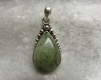 Unusual Mossy Agate and Silver Pendant/Necklace