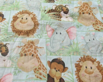 Jungle Babies Fabric Nursery Print Fabric Childrens Fabric Patty Reed Designs Monkey Lion Tiger Elephant 2  Pieces Remnant 21x51 Both