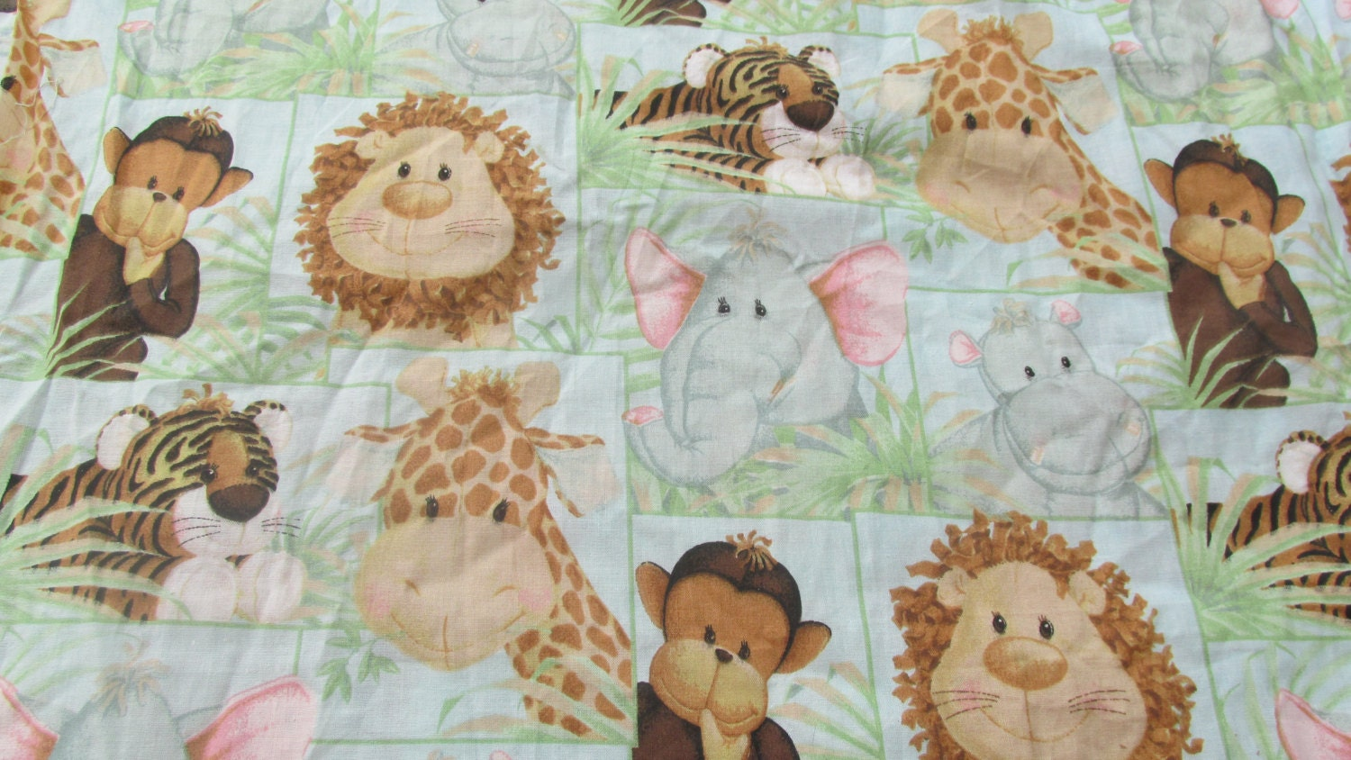Jungle babies fabric nursery print fabric childrens fabric for Nursery fabric