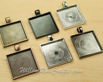 5 pcs 25mm Square Pendant Trays with 5 Flat Glass Squares, Ant Bronze, Black, Ant Silver, Ant Copper, Gunmetal  and Silver Cabochon Setting