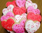 Heart Cookies - Heart Valentines with Sprinkles - 12 Cookies