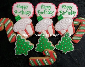 Christmas Birthday Cookies - Christmas ookies - 12 Cookies