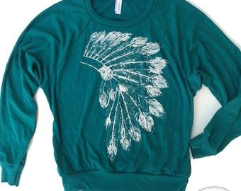 Womens Native American HEADDRESS Tri-Blend Pullover - american apparel S M L (5 Color Options)