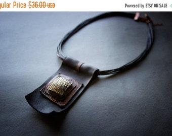 50% OFF SALE Stylish geometric leather pendant Copper an black color Unique leather jewelry