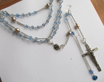 Danusharose  Vintage Light sky Heavenly  Blue with Taupe Pearls  from Ross Simmons Necklace Sterling Crucifix and Rose Enamel Medal Rosary