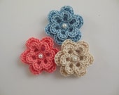 Trio of Crocheted Flowers - Coral, Blue and Ecru with Pearl - Cotton - Crocheted Appliques - Crocheted Embellishments