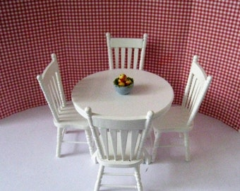 Dollhouse white table, round table, kitchen set, four kitchen chairs, round white  table, country table, twelfth scale, dollhouse miniature