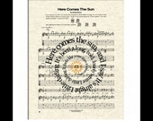 The Beatles Here Comes The Sun Song Lyric Sheet Music Art Print, The Beatles Song Music Art Print, Spiral Lyrics Art print, Nursery Art