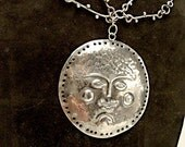 On Hold for Elle  - Amazing Mid Century Sterling Repousse MOON or SUN Face Necklace:  Handmade chain, designer signed Emaus