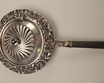 UNUSUAL Vintage Gorham Silver:  Covered Tea Strainer with Ebony Handle - Repousse, Hinged Cover, Fine Vintage Condition