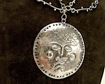 Amazing Mid Century Sterling Repousse MOON or SUN Face Necklace:  Handmade chain, designer signed Emaus
