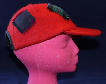 Vintage Red Wool Cap with Faux Patches, By Santi
