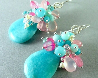 25% Off Summer Sale Amazonite, Apatite, Rose Quartz and Pearl Sterling Cluster Earrings