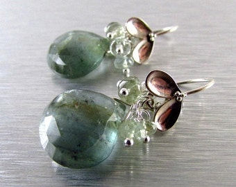 25% Off Summer Sale Moss Aquamarine and Sterling Silver Cluster Earrings