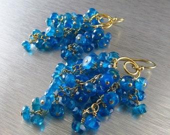 25% Off Summer Sale Neon Blue Apatite Waterfall Earrings, Cluster Earrings