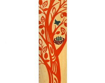 The Growing Tree Wooden Growth Chart / Child Height Chart / Wood Growth Chart in Pumpkin Orange / Baby Shower Gift