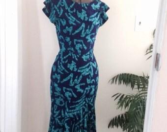 80s fishtail wiggle dress xs xxs teal purple All That Jazz