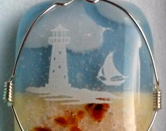 Lighthouse Beach Ocean Cremation Jewelry Ashes Glass Memorial Urn Pet