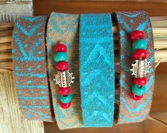 Hippie Jewelry Boho Bracelet, Tribal Hippie Bracelet, Hippie Jewelry Bohemian Bracelet, Boho leather Cuff, Boho Jewelry Beaded Bracelet