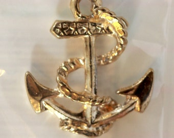 New Stock - MIP Golden Anchor Charm - (1) 22 mm x 25 mm - Nautical, Sailor, Navy