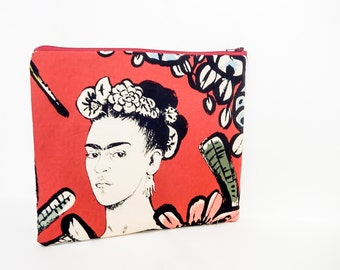 Fabric Zipper Pouch, Zipper Pouch, Pouch, Women's Pouch, Cosmetic Bag, Toiletry Bag, Large Zipper Case, Gift for Her, Frida Kahlo Pouch