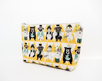 Zipper Pouch, Cosmetic Bag, Card Pouch, Fabric Pouch, Medium Pouch, Coin Purse, Change Pouch, Japanese Import Pouch, Circus Animals in Gold