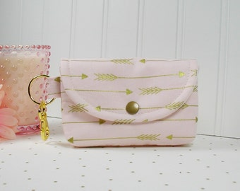 Small Snap Pouch with Gold Clip... Gold Arrow on Blush