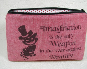 Zipper Pouch, Alice in Wonderland, Cheshire Cat,  Quote pouch, Fandom pouch