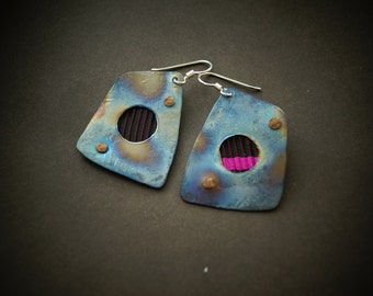 A  Titanium earrings Hand made copper waving Hand made  one of a kind