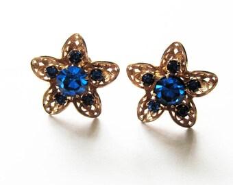 Vintage Blue Rhinestone Star Flower  Earrings