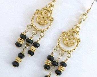SUPER SALE 60% OFF Blue Sapphire Chandelier Earrings Wire Wrap Gold Fill Gold Vermeil September Birthstone Blue Sapphire Jewelry