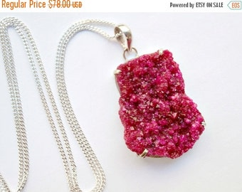 60% FLASH SALE Druzy Crystal Necklace Long Druzy Cluster Hot Pink Raspberry Ruby Druzy  Necklace Mineral Jewelry