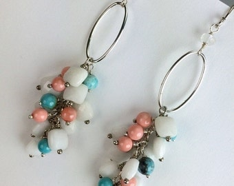 55% OFF SALE Multicolor Dangle Earrings Sterling Silver Turquoise, Coral, White Agate Cluster Earrings Sterling Silver Hoop Earrings