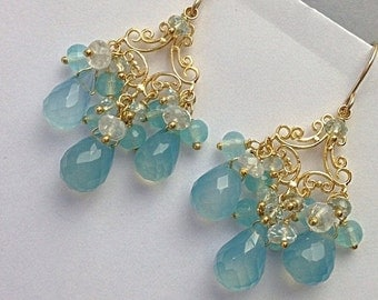 40% SALE Blue Chandelier Earrings, Blue Chalcedony Wire Wrap Gold Vermeil Handmade Earrings, Moonstone