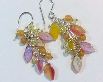 50% OFF SALE Pink Yellow Cluster Earrings Czech Glass Leaves Crystals Wire Wrapped Cluster Summer Yellow Pink Earrings, Sterling Silver