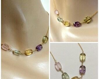 VALENTINES SALE Pastel Gemstone Necklace Dainty Gemstone Delicate Layering Choker Citrine Amethyst Rose Quartz Silver Gold Chain Multicolor