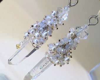 Crystal Wedding Earring Clear Quartz Boho Chic Bride Herkimer Diamond Beach Wedding Natural Quartz Point Pearl Cluster Wire Wrap Sterling