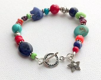 Zuni Bear Bracelet with Sterling Silver, Red Coral, Turquoise, Spiny Oyster, Lapis and Sodalite