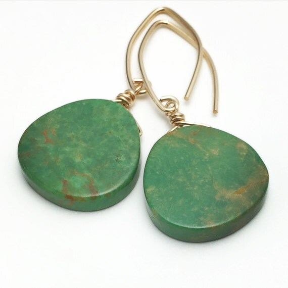 real turquoise earrings genuine turquoise earrings green turquoise with 14k yellow 8601