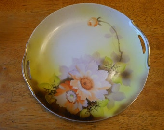 Noritake Plate with Large Flowers and Open Handles