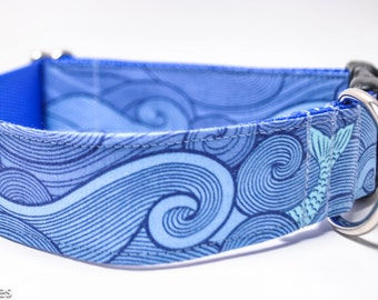 Waves Dog Collar / Wave Rider / 1.5 inch Wide Dog Collar