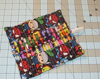 New handmade baby super hero's crayon roll organizer