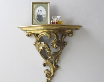syroco wood gold gilded wall shelf vintage ornate golden sconce plate rack