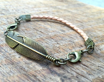 2pc Indie Charm Interchangeable Bracelet with 1 Leather Strap & 1 Feather Pandant