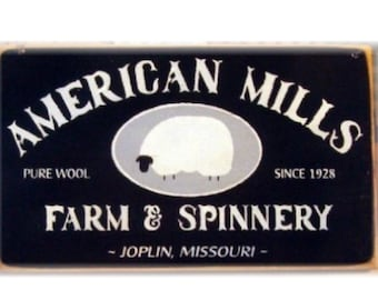 American Mills Farm and Spinnery primitive wood sign sheep