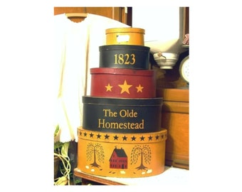 The Olde Homestead 5 piece shaker style stacking boxes