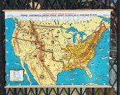 Vintage US History Roll Up Pull Down School Map of the USA, Native Tribes 1829