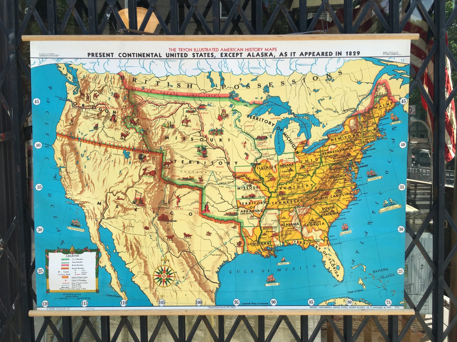 Vintage US History Roll Up Pull Down School Map Of The USA Native - Full usa maps