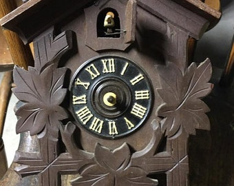 Vintage Carved German Cuckoo Wall Clock For Parts Repair Wooden with Bird